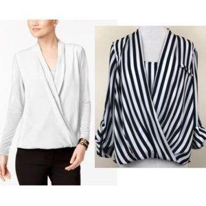 ⚡️SALE⚡️Alfani Striped Black & White Surplice Top